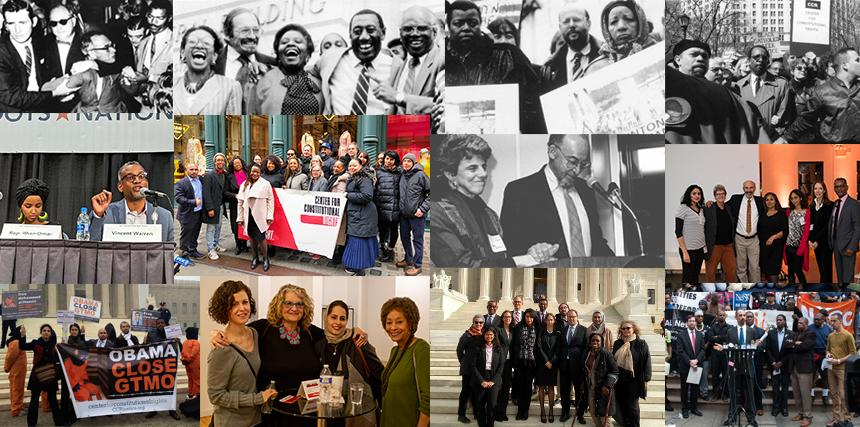 Montage of CCR lawyers, board members and partners and friends