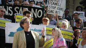 Katherine Franke at BDS rally